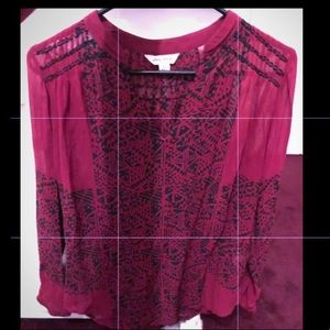 Lucky Brand Red/Black LS Semi Sheer Blouse Size XS